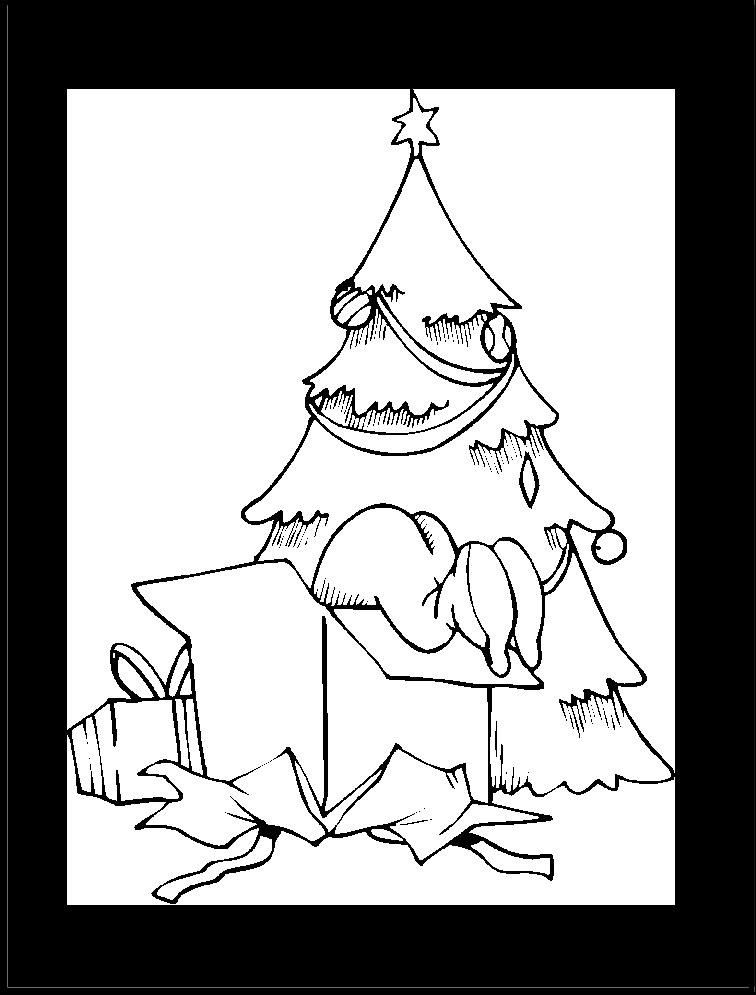 arbol-de-navidad-con-regalos-para-colorear-y-dibujar - Dibujos De
