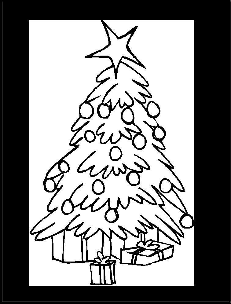 arbol-de-navidad-con-regalos-para-colorear-y-recortar - Dibujos De