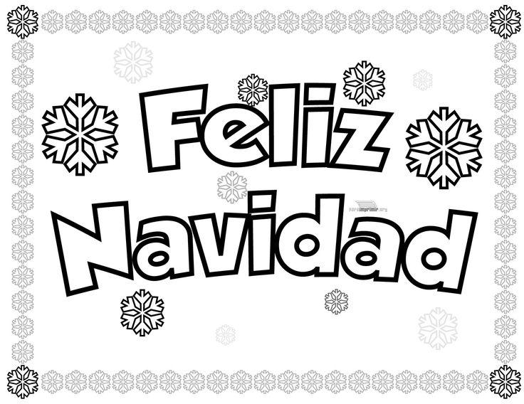 imagen de feliz navidad con copos de nieve para dibujar y colorear ...