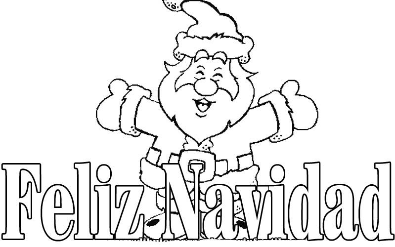 imagen de feliz navidad con papa noel para dibujar y colorear ...