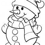 muneco de nieve con bufanda de Navideno para colorear dibujar recortar y adornar