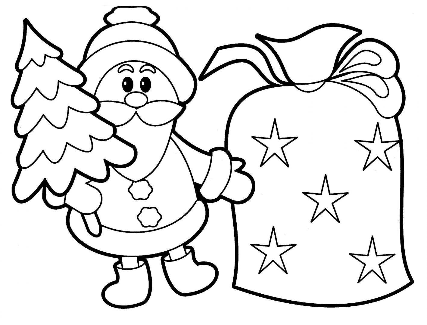 imagen-de-santa-claus-con-pino-de-navidad-para-dibujar-y-colorear ...