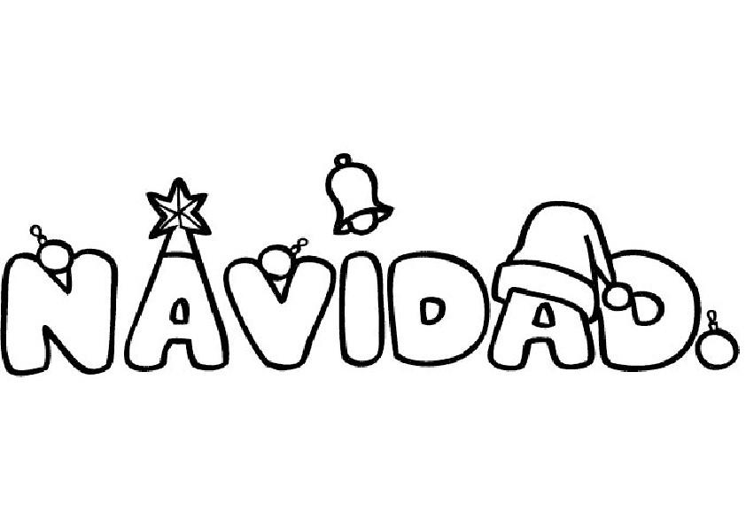 Imagen de la palabra navidad para dibujar y colorear for Dibujos de figuras de navidad para colorear