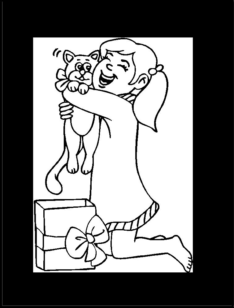 nina-abrazando-su-regalo-de-navidad-para-colorear-e-imprimir ...
