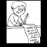 Niño escribiendo carta a santa claus