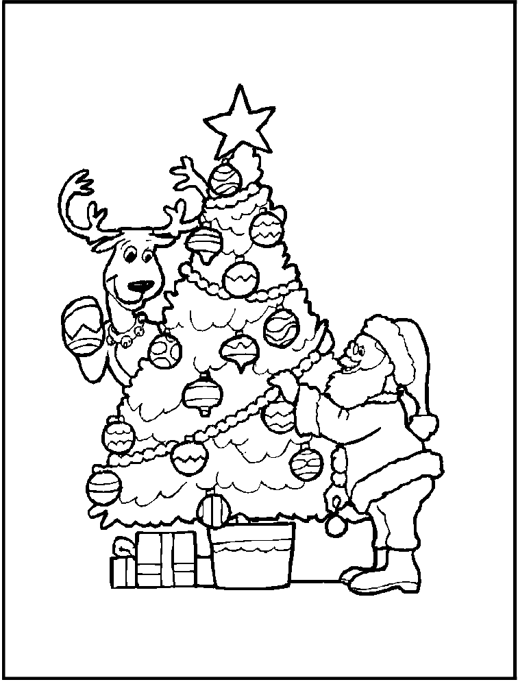 santa-claus-con-arbol-de-navidad-y-regalos-para-colorear-y-recortar ...