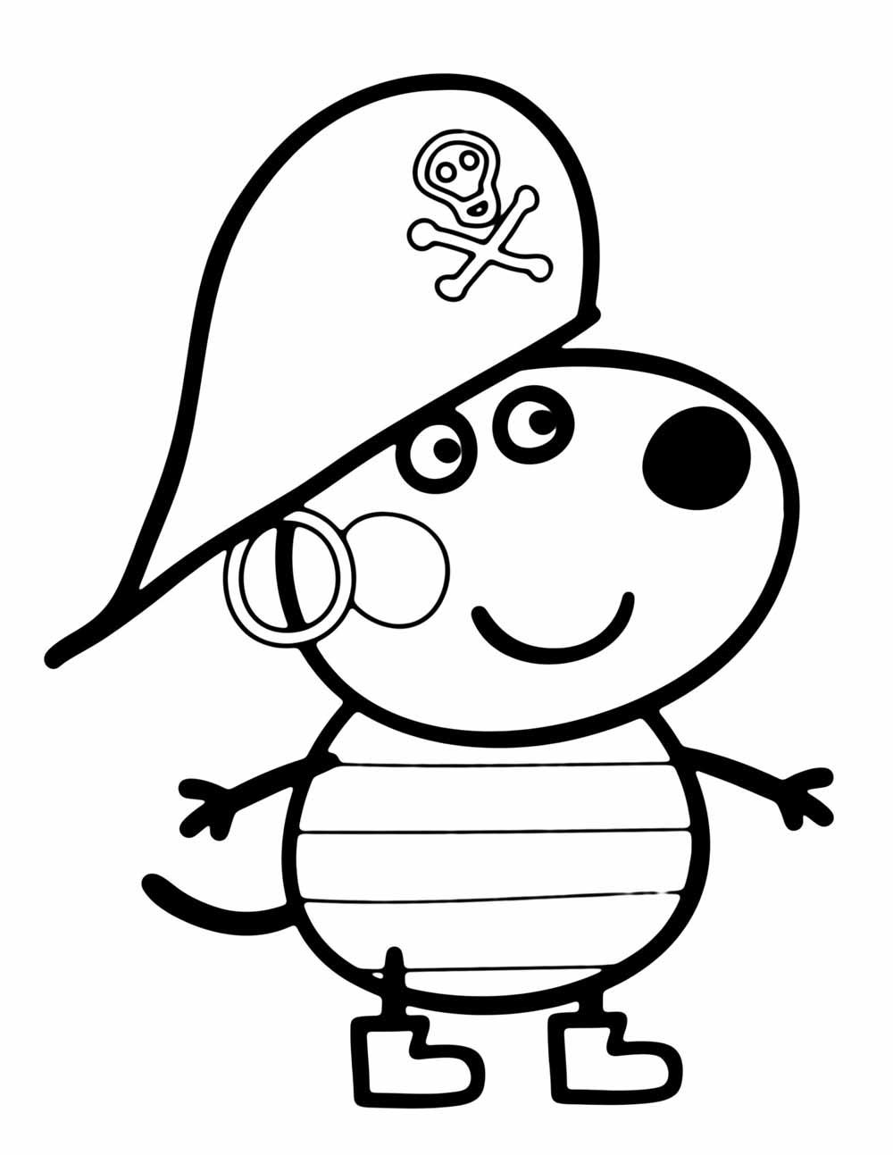 george pig disfrazado de pirata para colorear e imprimir dibujos de