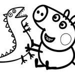 George Pig jugando con su dinosaurio