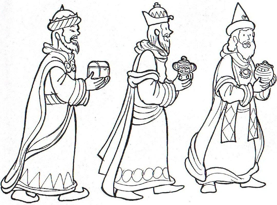 Imagen de reyes magos para colorear y recortar - Dibujos De