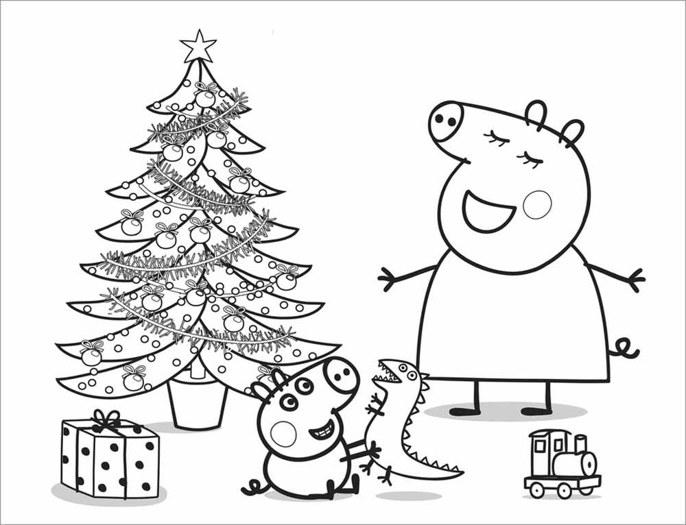mummy-pig-y-george-en-navidad-para-colorear-y-dibujar - Dibujos De