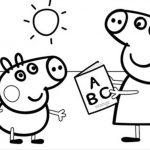Peppa Pig y su hermano Jorge estudiando