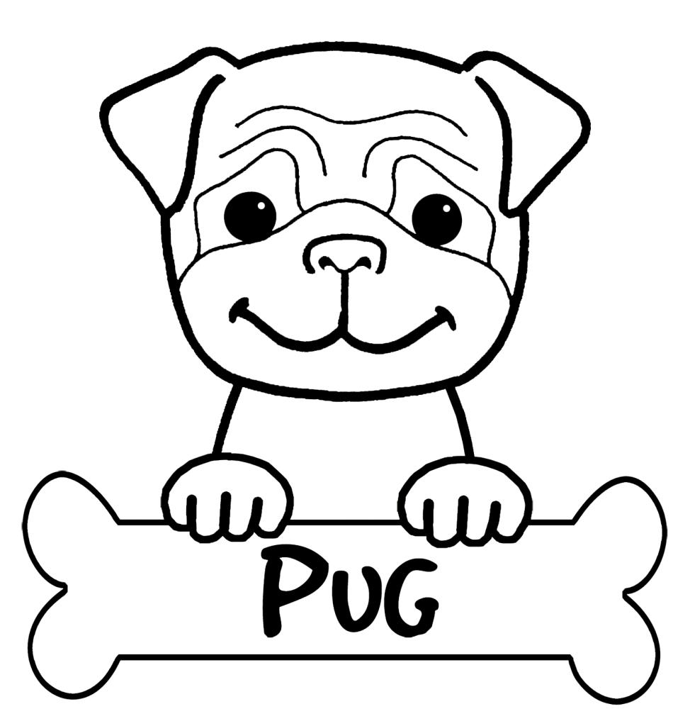 Pintura de Perro Pug para iluminar y colorear - Dibujos De