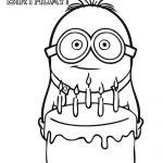 Dave Minion con pastel de cumpleaños para festejar