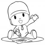 Imagen de Pocoyo sentado dibujando