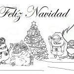 Minions Navidad arbol colocando el pino