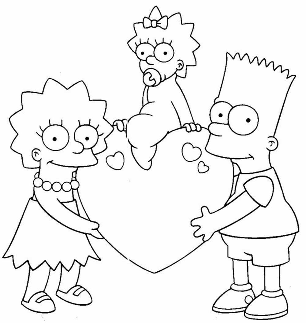 Bart Lisa Maggie los simpsons san valention para dibujar y colorear ...