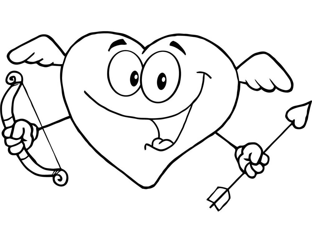 Corazon Cupido para el día de los enamorados para pintar y dibujar ...
