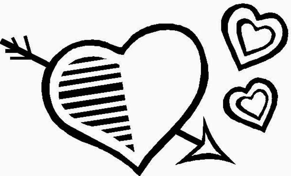 Corazon fechado por cupido con corazones para dibujar y colorear ...