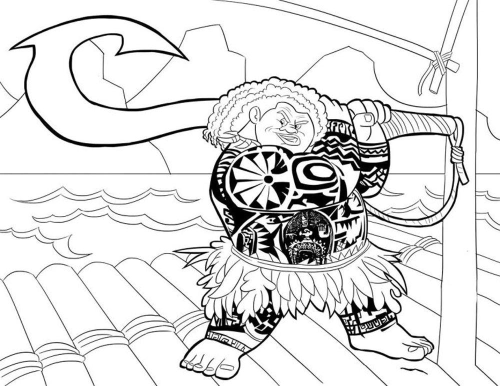 Maui personaje de poelicula de Moana de Disney para pintar e ...