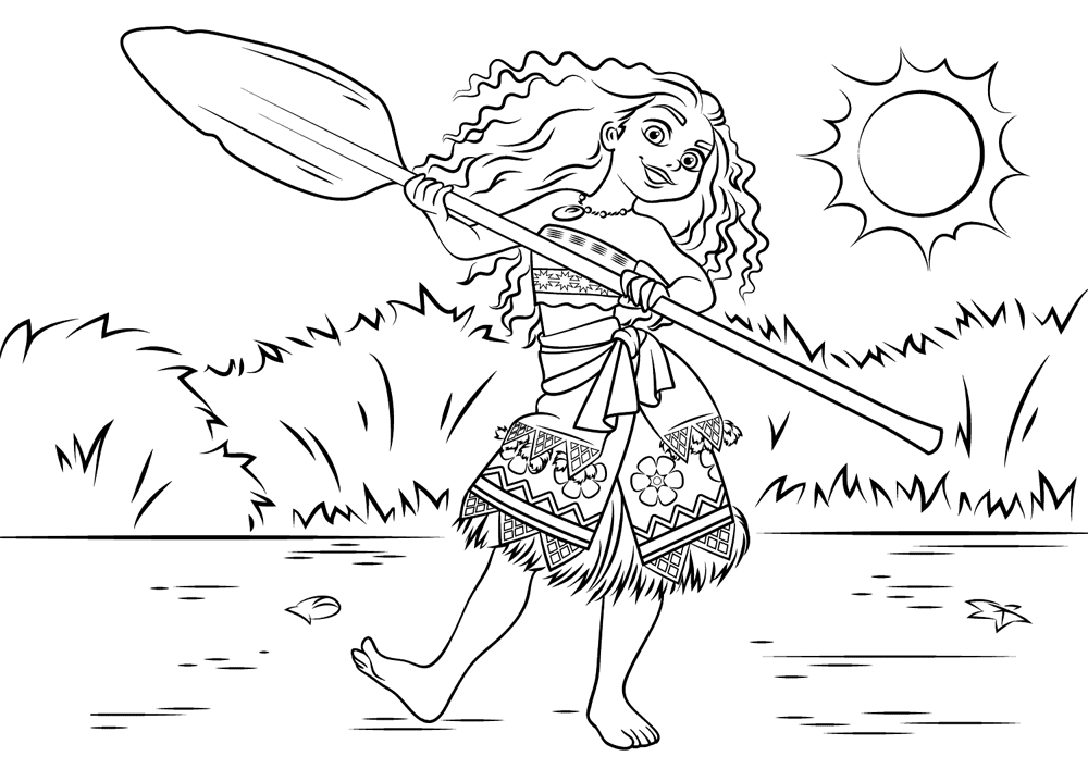 Dibujos Para Pintar Online De Disney I: Moana-bailando-pelicula-de-disney-para-dibujar-y-pintar