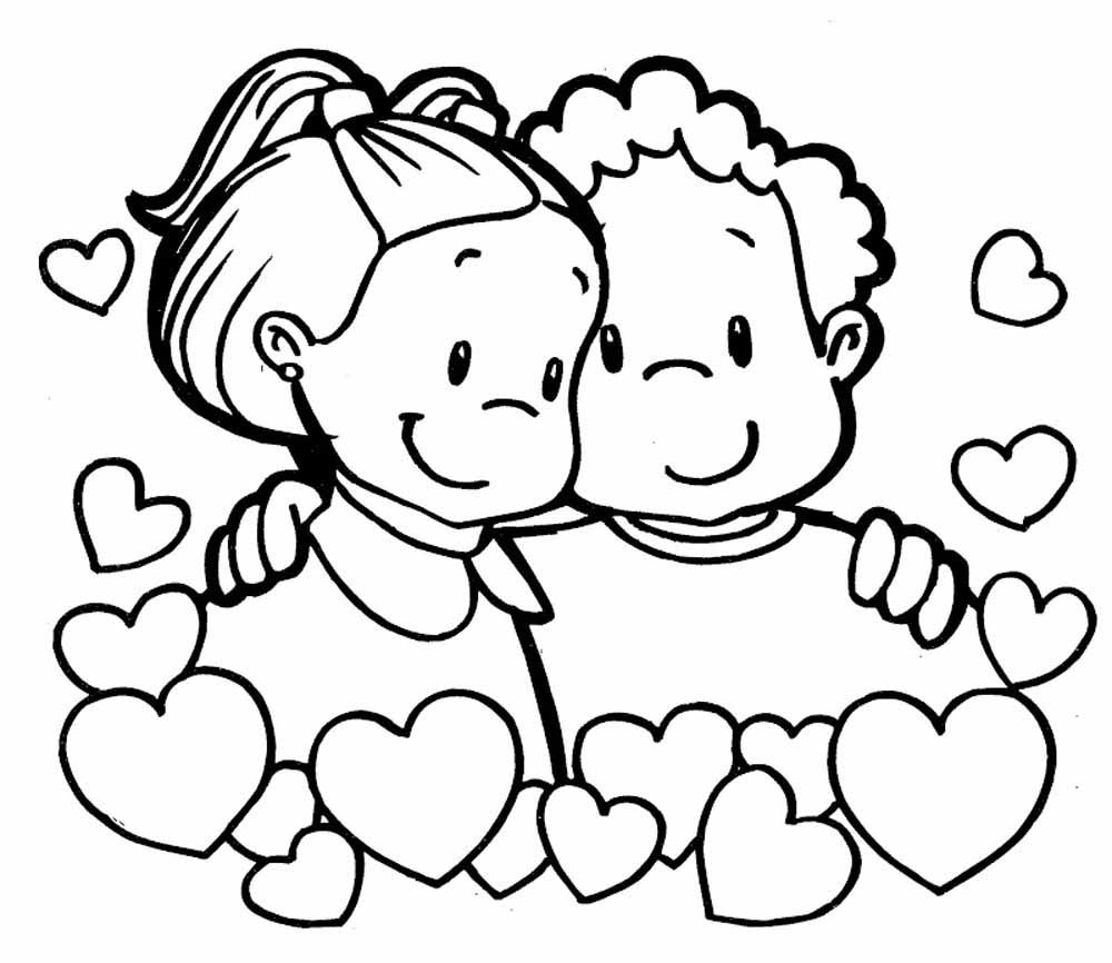 Niños felices enamorados para san valentin para dibujar y pintar ...