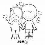 Novios enamorados para san valentin plntilla