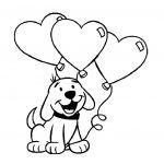 San Valentin imagen de perro con globos en forma de corazon