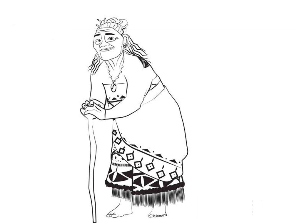 Dibujo Para Colorear De Vaiana Y Mauie Película De Disney: Dibujos Para Colorear De Moana