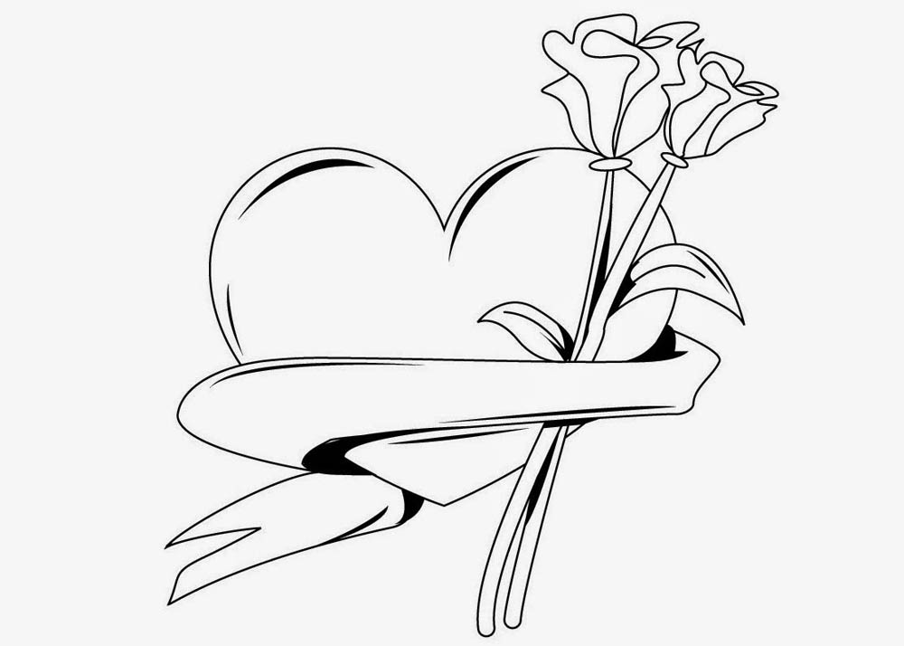 corazon con flor rosa clavel para san valentin para iluminar y ...