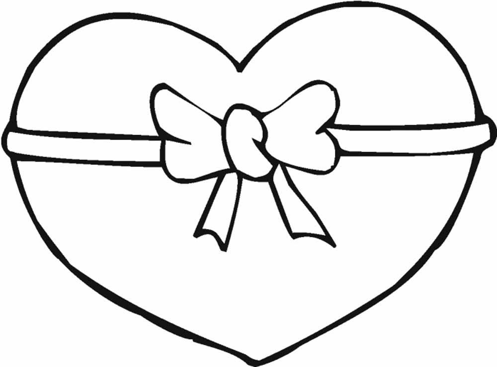 corazon con moño del 14 de febrero para imprimir y recortar - Dibujos De
