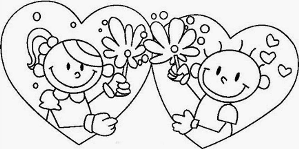 Dibujos De Flores Para Recortar Y Colorear: Imagen-de-14-de-febrero-enamorados-novios-en-corazon-con