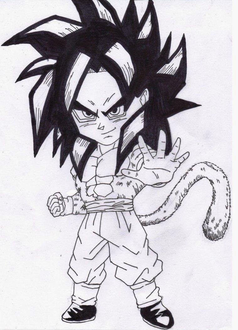 Dibujo de Chibi Goku para imprimir y recortar - Dibujos De