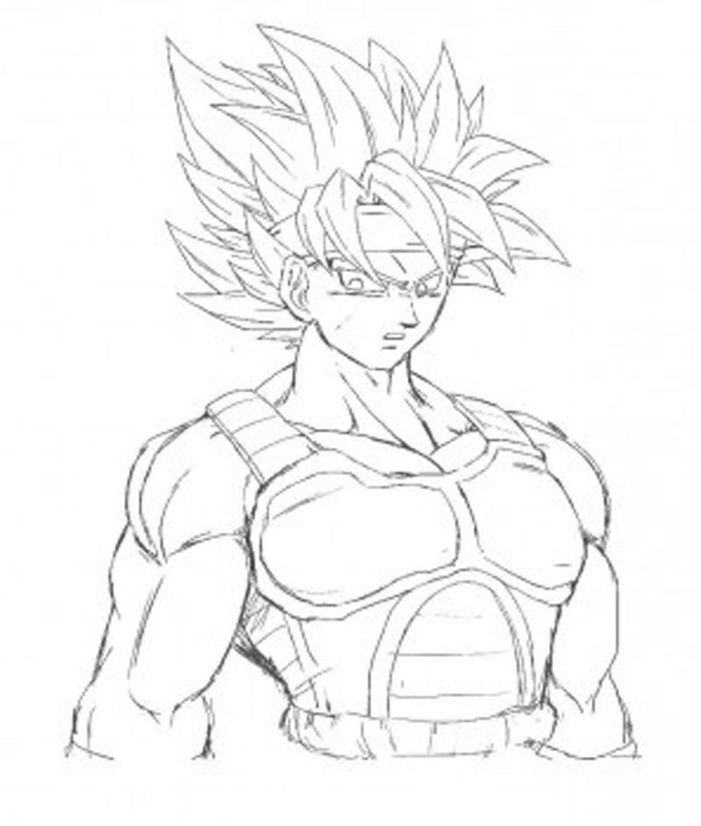 Dibujo de Goku con uniforme de Sayajin en fase 1 para imprimir y
