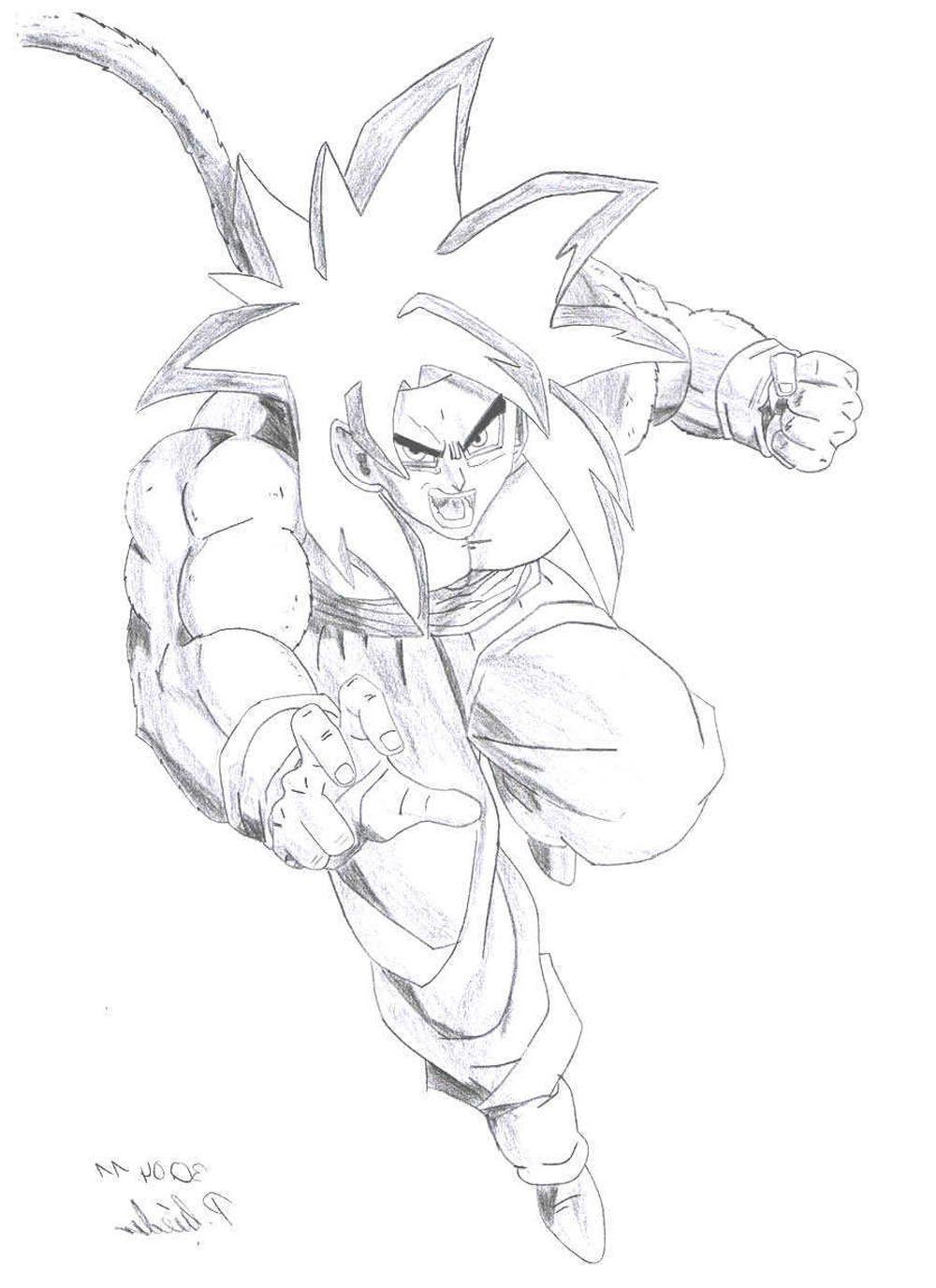 Dibujo de Goku fase 4 en posicion de pelea para imprimir y