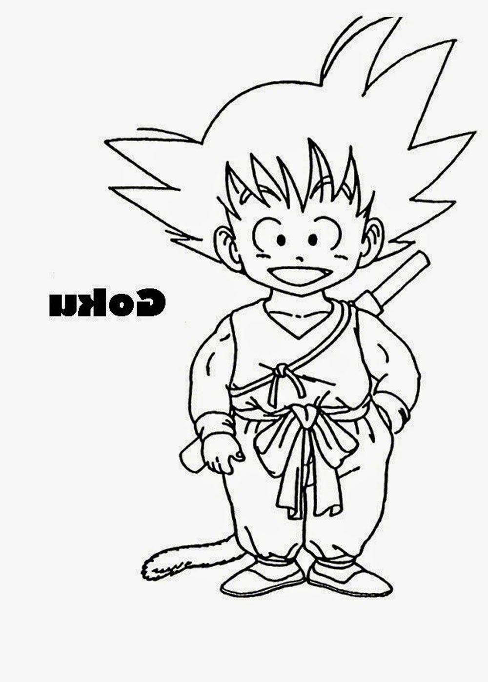 Dibujo de Goku nio con cola para imprimir doibujar y colorear
