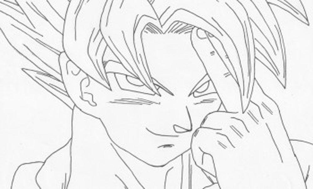 Dibujo de Goku usando la teletransportación para imprimir recortar ...
