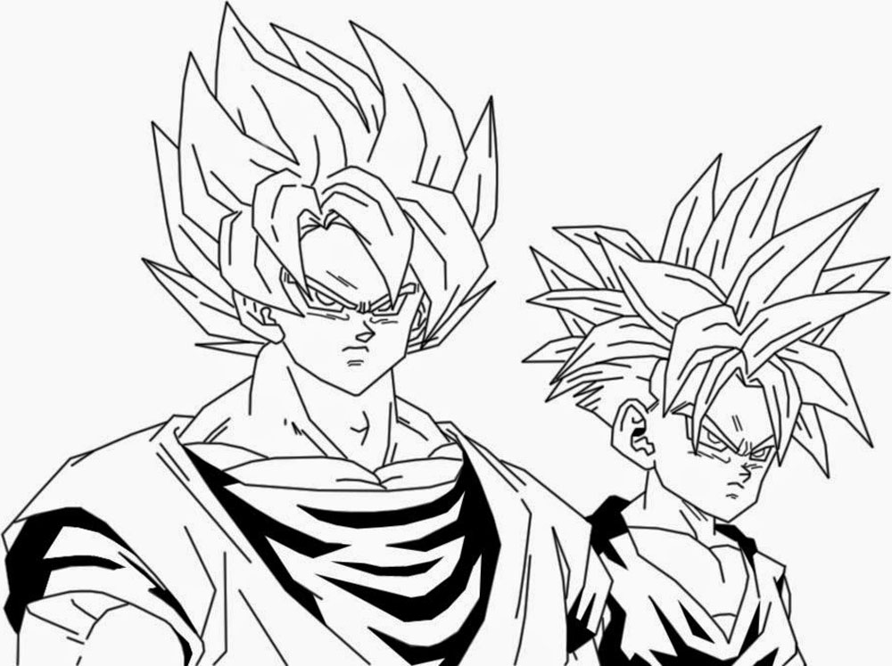 Goku Super Sayayin Dios Azul Para Colorear: Dibujo De Goku Y Gohan Para Iluminar Y Dibujar