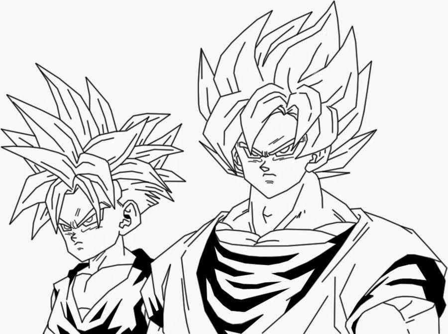 Black Goku Para Colorear: Dibujo De Goku Y Gohan Para Iluminar Y Dibujar