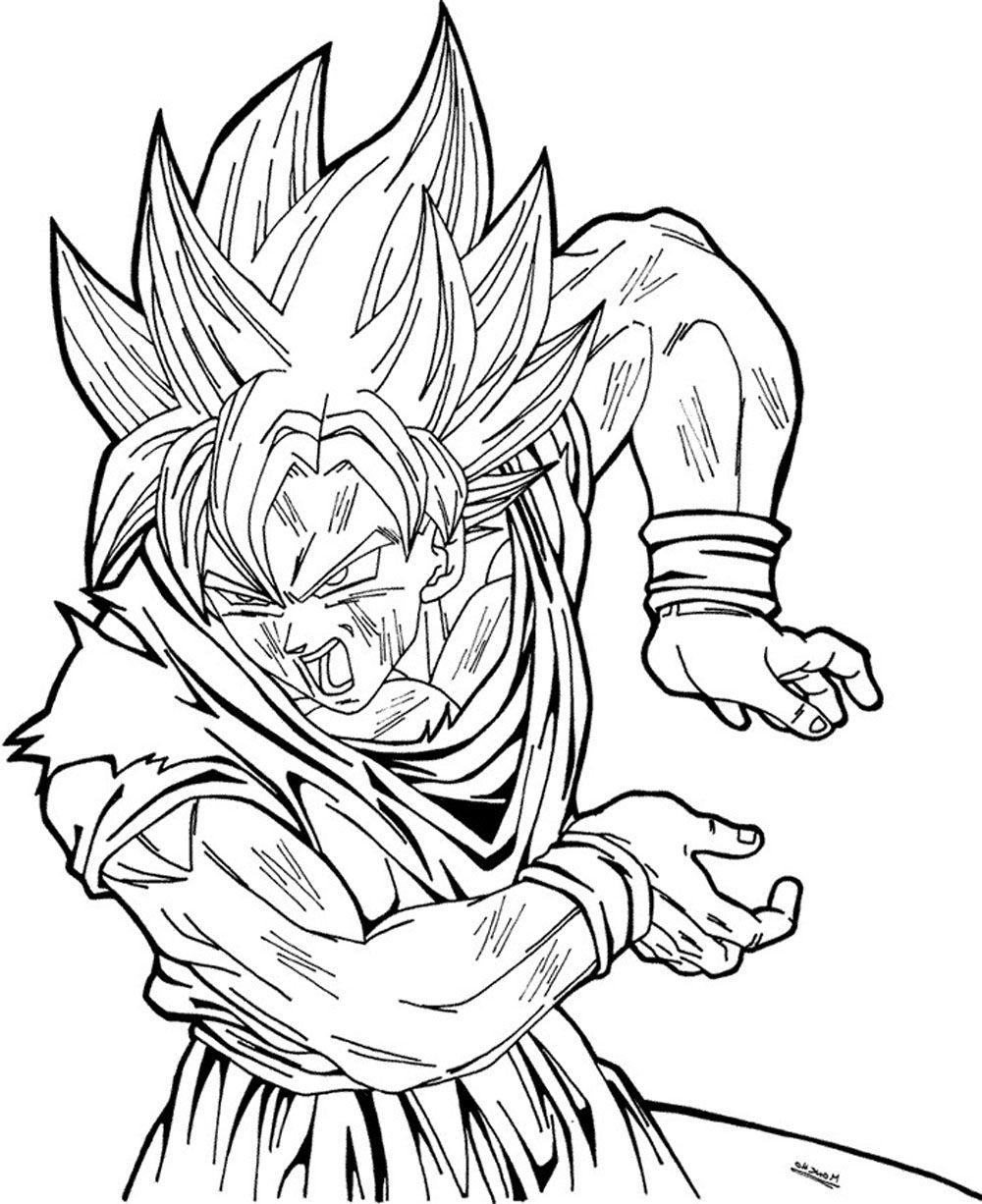 Dibujo de Son Goku sayan haciendo un kame hame ha para pintar y
