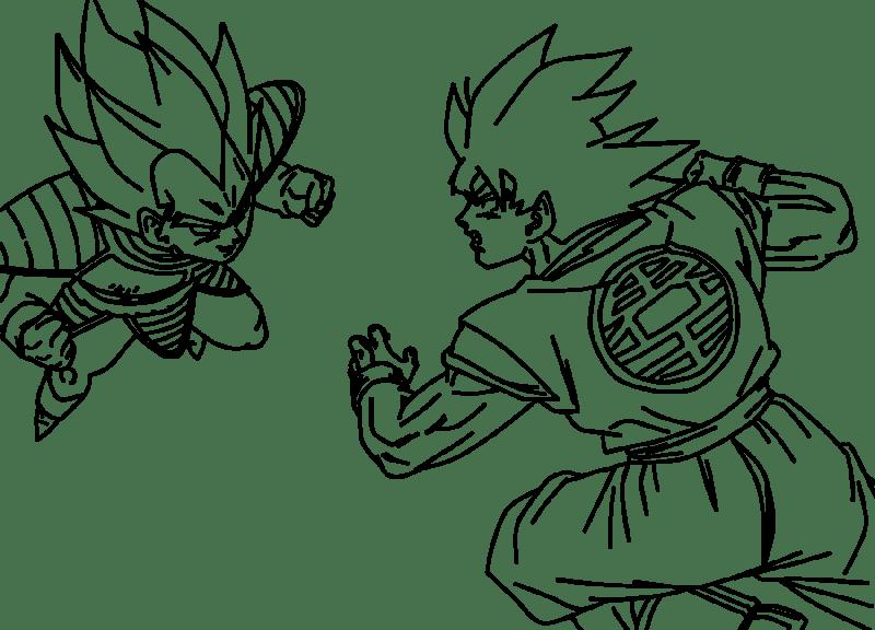 Dibujo de goku kakarotto peleando contra Vegeta para iluminar y ...