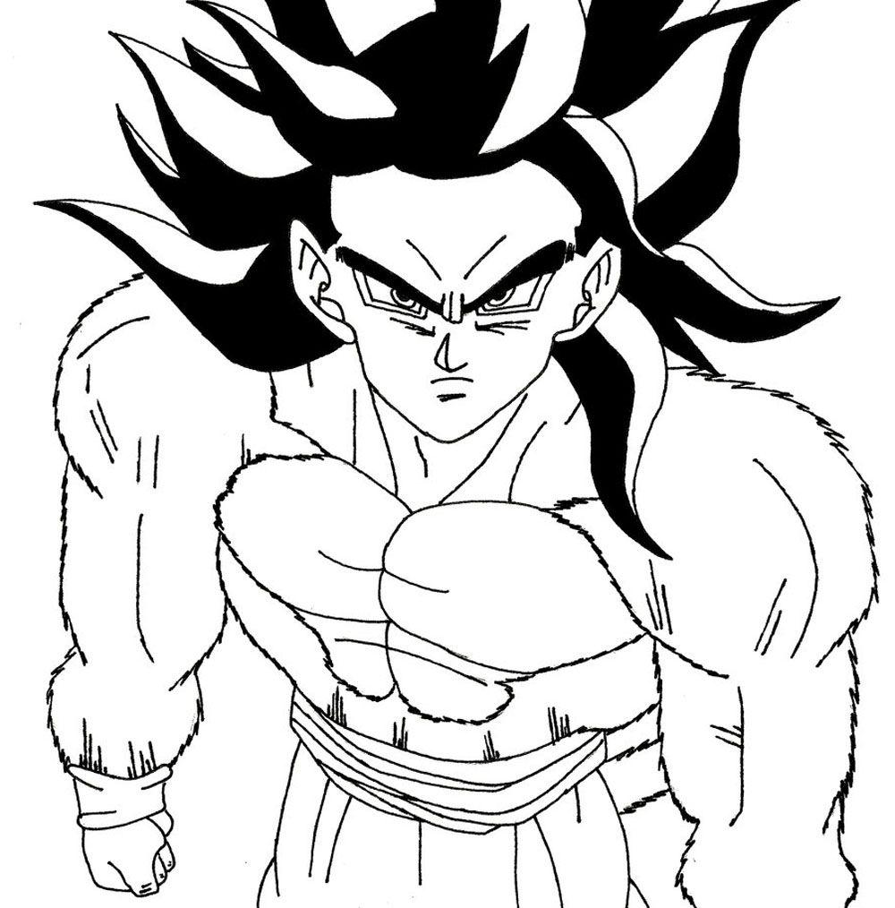 Imagen de Goku fase 4 para iluminar y dibujar  Dibujos De