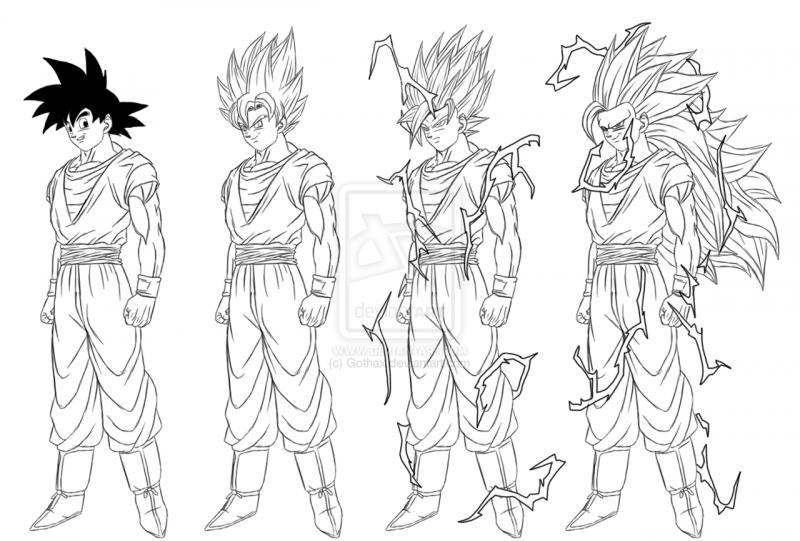 Imagen De Goku Kakaroto Normal Fase 1 Fase Dos Fase 3 Fase