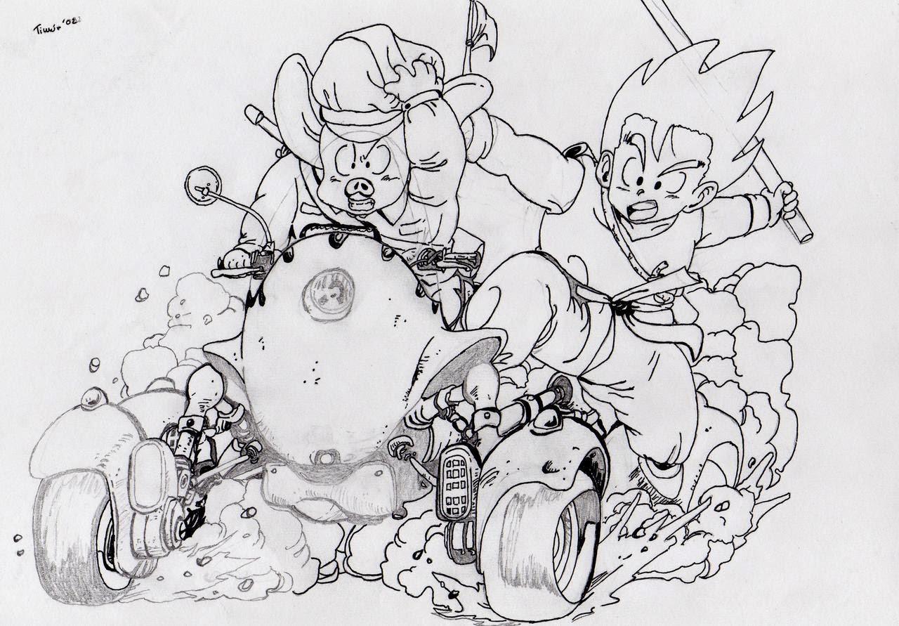 Goku Niño Para Colorear: Imagen De Goku Niño Con Sus Amigos Para Colorear Y Pintar