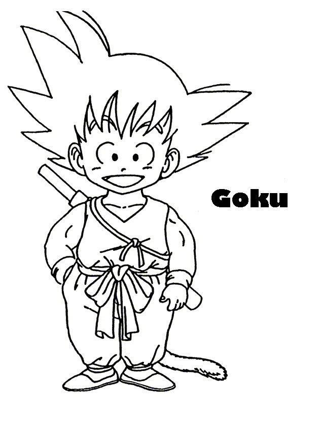Imagen de Goku niño para imprimir recortar y colorear