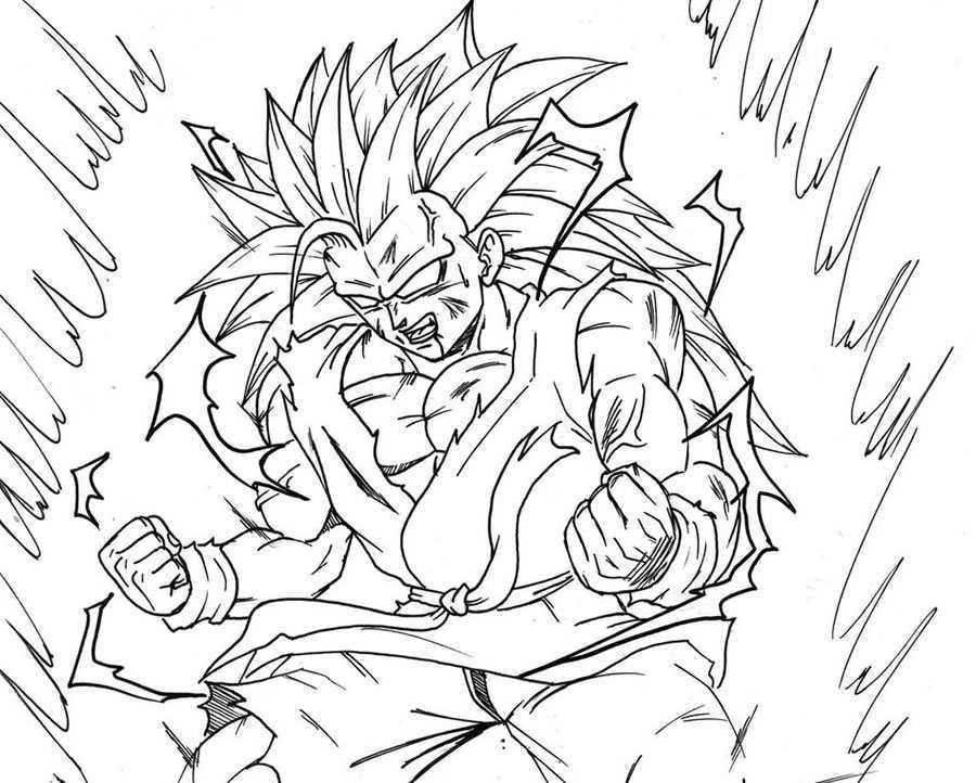 Lujo Imagenes Para Colorear De Goku Fase 4: Son Goku Fase 3 A Fase 4 Para Iluminar Y Colorear