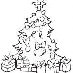 Pino de Navideno con regalos para colorear dibujar recortar y adornar