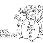 feliz Navideno con olaf muneco de nieve para colorear dibujar recortar y adornar