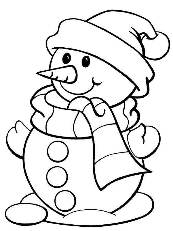 Muñeco De Nieve De Navidad Para Colorear | Bernadettes