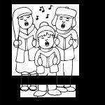 Niños cantando villancicos para colorear y recortar