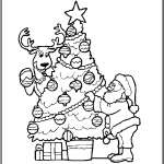 Imagen de Santa Claus con Arbol de navidad y regalos